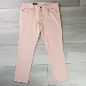J Crew Pink Toothpick Skinny Ankle Jeans Size 32